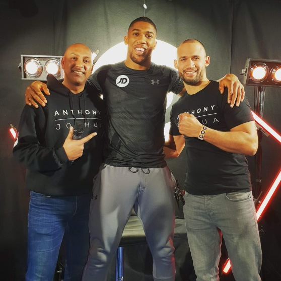 L-R: Baldy, Anthony Joshua, Rugged